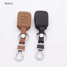 Hot Sale car key dust collector 100% car leather key case 3 Button Leather Key Chain Cover For Honda Xrv Xr-v Cr-v Accord