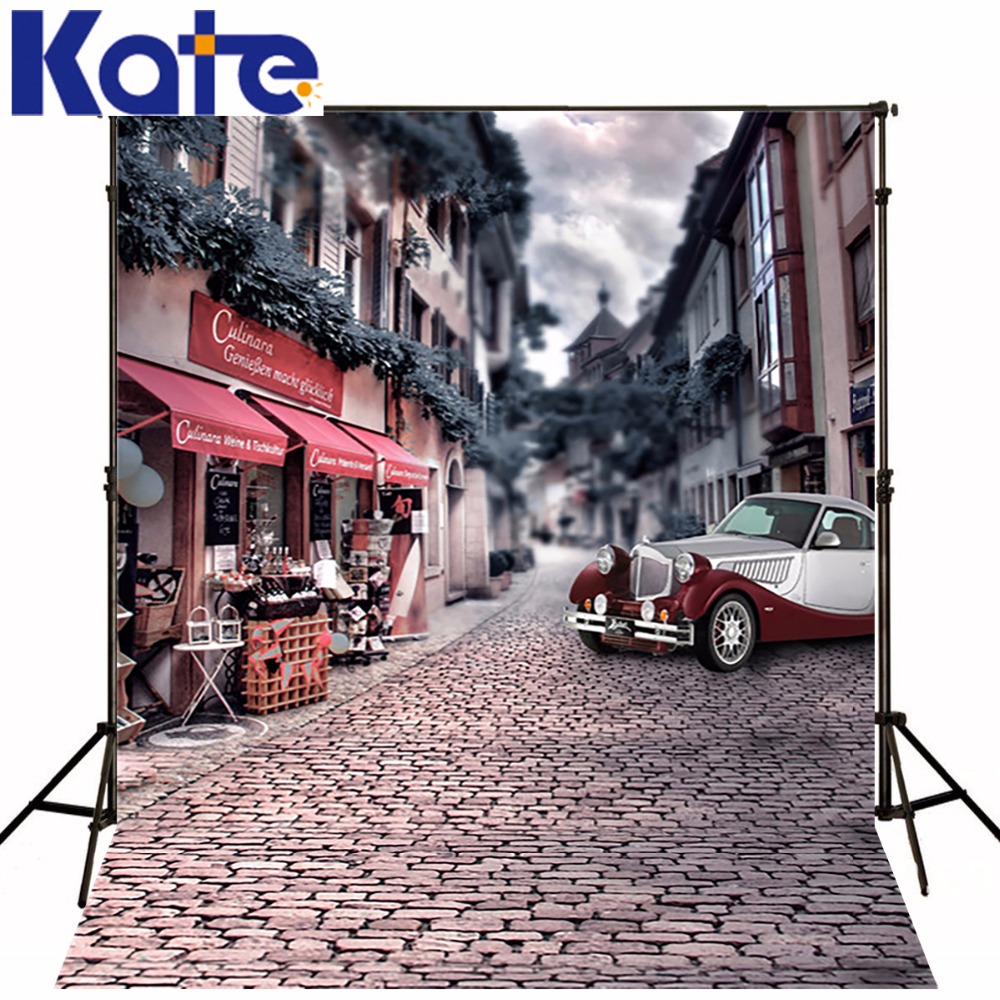 Ancient Streets Background For Studio Vintage Car Shop Valentine Kate Backdrops Background For Photo<br>
