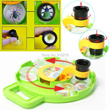 Multi-compartment Bug Insect Cage with Field Toy Microscope Magnify Lens Bug Viewer intelligent Educational science kit for kids