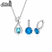 Effie Queen Blue Austria Zircon Crystal Jewelry Set  Silver Color Necklace Earring Ladies Jewelry Set WS47