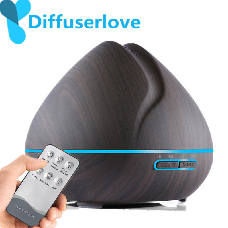 Diffuserlove 500ML Remote Control Air Humidifier Essential Oil Diffuser Humidificador Mist Maker LED Aroma Diffusor Aromatherapy(China)