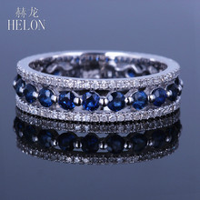 HELON Solid 14K White Gold Real Natural Diamond & Sapphires Ring Fine Jewelry Engagement Wedding Ring Anniversary Gemstone Band(China)