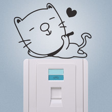Hot Enjoy Life Cat Wall stickers Switch Refrigerator Computer Notebook Cup Phone Stickers kids room mural Home Decoration(China)