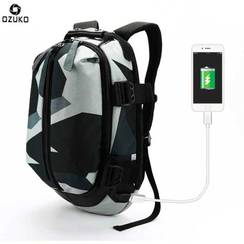 OZUKO New Fashion Student School Bags Oxford Casual Mens Backpack 14 Inch USB Charge Laptop Computer Backpacks Travel Mochila <br>