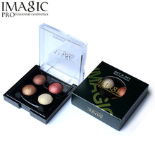 Imagic Eye Makeup 4 Color Baked Eyeshadow Palette Waterproof Wet & Dry Shimmer Metallic Eye Shadow Make Up Palette(China)