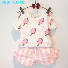 Bear Leader Girls Clothes 2016 Brand Girls Clothing Sets Kids Clothes Lolly Pattern Children Clothing Toddler Girl Tops+Skirt