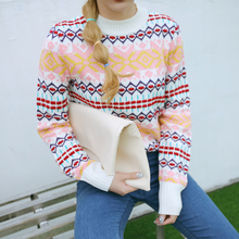 Harajuku 2017 Korean christmas sweater women retro Quilted diamond pattern warm knit women sweaters and pullovers