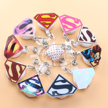 1psc Cute Cartoon Super Man Retractable Pull Badge Reel ID Card Clip ID Badge Lanyard Name Tag Card For School Office Company(China)