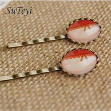 SUTEYI Fashion Style Bowknot striped red glass cabochon print hair clips for girls Bronze Hair Clips Vintage handmade jewelry