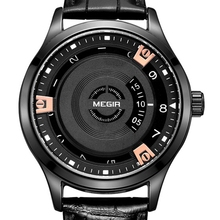 New Fashion Style Rotary Dial Megir Brand Quartz Watch Men Waterproof Mens Sports Leather Wrist Watches Clock Relogio Masculino