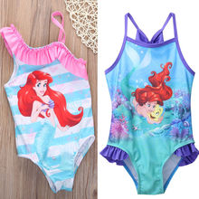 2017 2-7Y Lovely Girls Mermaid Swimwear Children Cartoon Swimming Suit Toddler Kids One-piece Bikini Ruffle Bathing Wear
