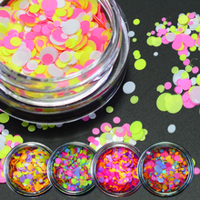 1g NEW Mixed Round Nail Art Glitter Decoration Colorful Luminous Mini Mixed Thin Paillette Design Nail Tip Bottle DIY LAP25-35