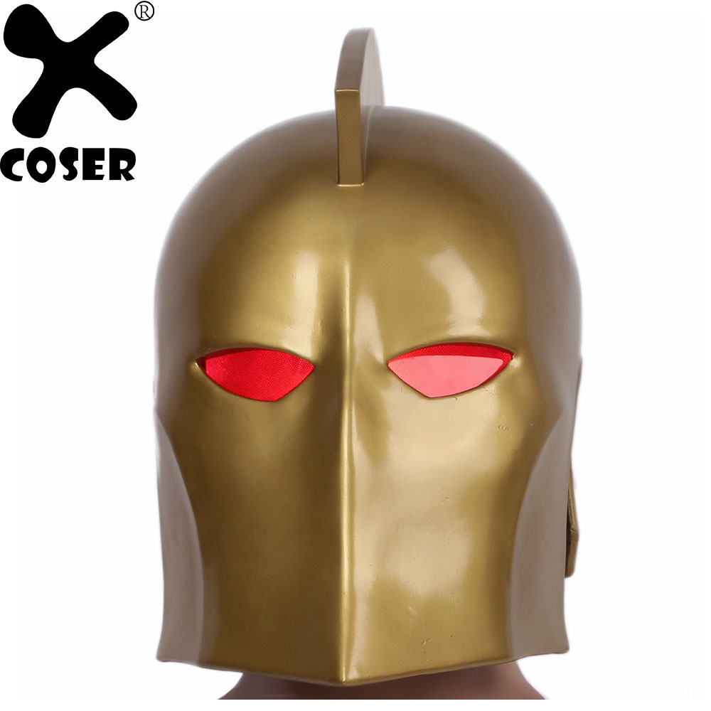 XCOSER Doctor Fate Cosplay Mask Full Head Helmet Halloween Holiday Party Cool Cosplay Masks Gold Color Helmets With Led Light