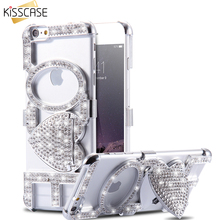 KISSCASE Rhinestone Kiss Love Stand Case For iPhone 6 6S 4.7& 6 6s plus 5.5 Woman Girl Stylish Cellphone Cover Sexy Mobile Bag