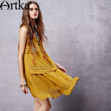 Artka Bohemian Dress Women Ethic Vintage Dress Female Summer Shirt Dress Chiffon Sundress 2017 Casual Vestidos Mujer LA14558X