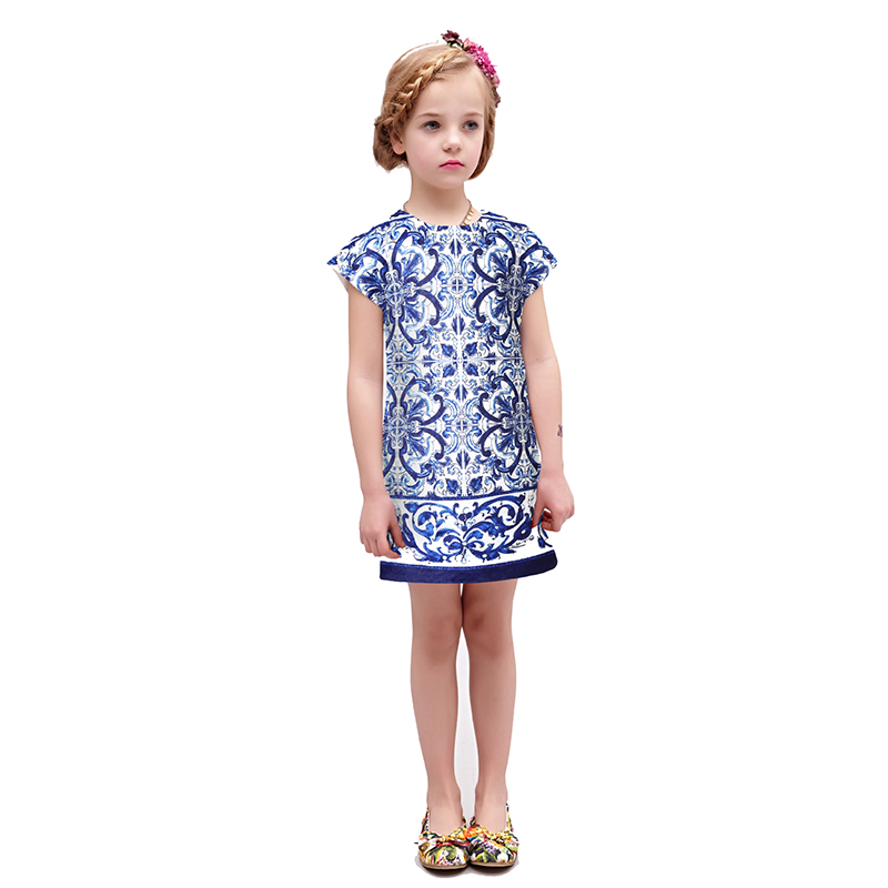 BEENIRA Wlmonsoon girl and White Porcelain embroidery Splice A word dress kid cheongsam style dresses<br>