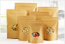 Zip Lock Standing Kraft Paper Bags with Round Window Yellow Kraft Pack Storage Dried Food Fruits Tea Electronic Product Pouches