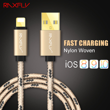 RAXFLY For iPhone Charge Cable 2M 1M 5V 2A  Fast Mobile Phone Accessories Cables For iPhone 6 6s Plus 7 7 Plus 5 iPad Air iPod