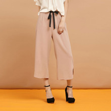 Pink tied high waisted wide leg cropped pants for women cute slit hem palazzo trousers ladies street stylish capri culotte pants