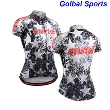New 2017 women bike jersey top short sleeve cycling clothing jerseys star printed recycle wear Christmas design sportswear(China)