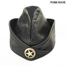 Moda soviética militar PU nave Caps Steampunk fresco popular negro Visual  Kei sombrero Punk Rave S-181 7c4e70fb036