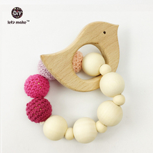 Let's Make Wooden Baby Toy - Teething Set Untreated Maple Teether with Cotton Gift Bag Most Popular Baby Gift Bracelet