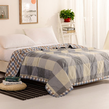 2017 Wongs bedding Brand Queen Comforter Grey Grid Quilts Cotton Blanket Men/Boys/Students Style Duvets