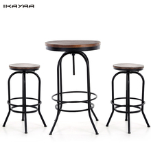 iKayaa US Stock 3PCS Pinewood Top Bar Pub Bistro Table Chair Set Industrial Style Swivel Kitchen Dining Breakfast Coffee Table