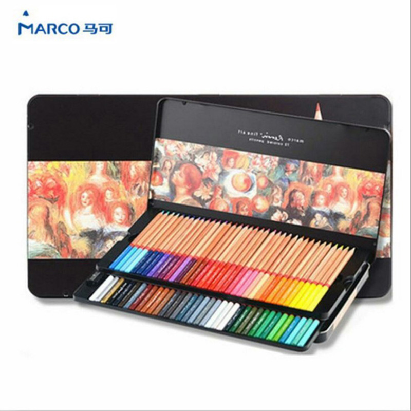 Marco Renoir fine art professional Oily Colored pencils 72 Color lapis de cor Painting pencil /Colored Pencil Tin Box<br><br>Aliexpress