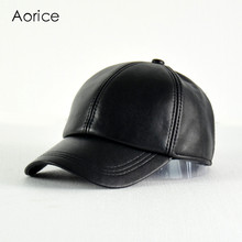 HL008  Genuine Leather Adjustable Solid Deluxe Baseball Ball Cap  brand new men's black golf  sport  hats/caps