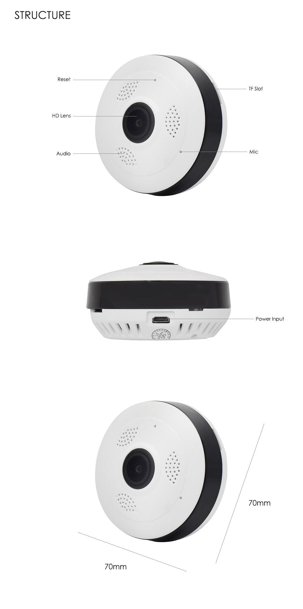 Wistino CCTV HD 960P WIFI IP Camera Alarm Wireless VR Panoramic Camera Fisheye 360 Degree Video Baby Monitor Home Surveillance (14)