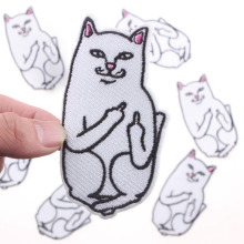 1Pcs Cartoon Patch Animal White Finger Cat Cheap Embroidered Iron On Patches For Kids Clothing DIY Apparel Accessorie Badges(China)