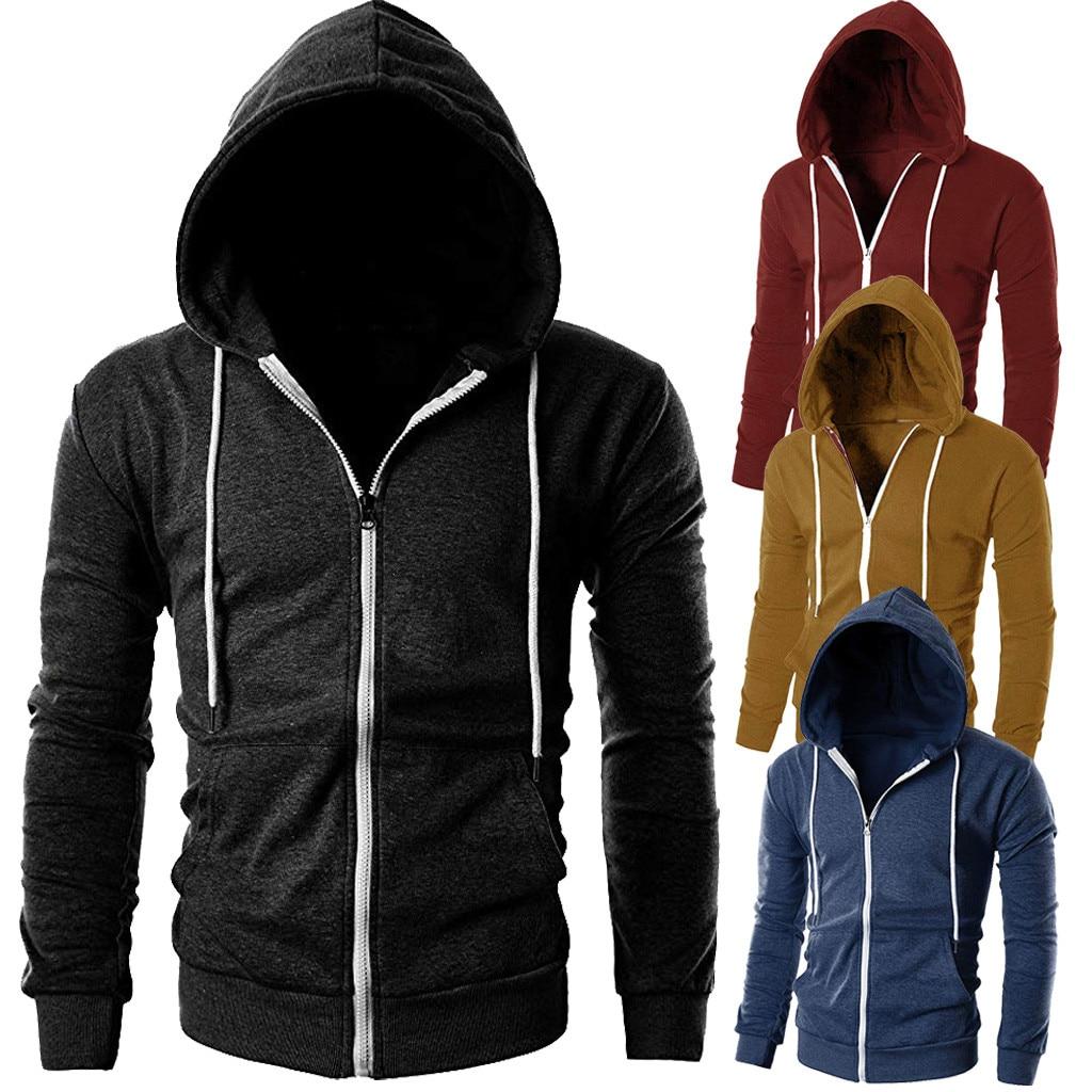 306343dd79b Plus Size Men Hoodies Jacket Winter Spring Drawstring Zipper Hooded  Sweatshirt Male Long Sleeve Pocket Pullover Hoodie Coat