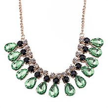 Europe Green Crystal Drops Necklace Diamante Tassels Women's Accessories Luxury Vintage Statement Necklace SL