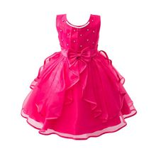 Buy Girl Bow Flower Dress Party Birthday Wedding Princess Ball Gown Dress Baby Girls Clothes Children Kids Girl Dresses LH6s for $9.18 in AliExpress store