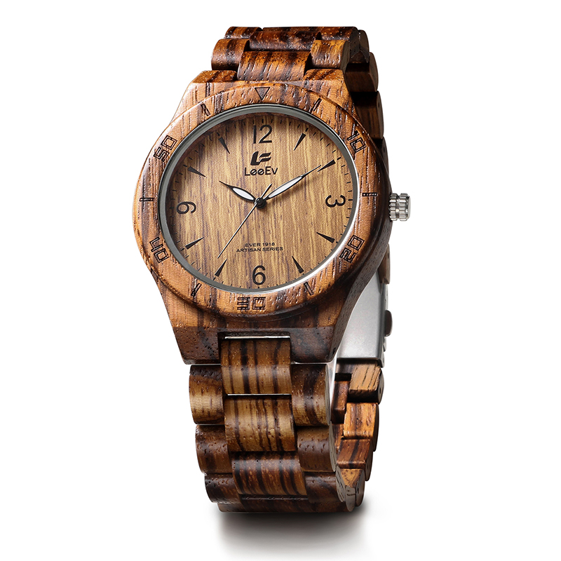 LeeEv EV1918 Mens Wood Watch for Men HandCrafted Zebra Sandal Wood Vintage Wooden Watches Mens Gifts<br>