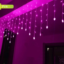 1.5x0.5m LED String Fairy Christmas Lights Outdoor Heart Navidad Luces Decorativas LED Curtain Lights Wedding Decorations Lamp(China)