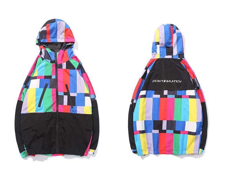 Multi Color Block Patchwork Hooded Zip Up Jacket 1