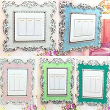 New Home Floral Switch Cover Square Shape Switch Wall Light Socket Stickers Room 86*86mm Great decor white Mint green Pink Blue