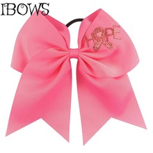 Bling Hot Pink Big Ribbon Cheer Bows With Elastic Band For Girls Pontail Holder Cheerleader