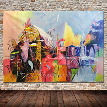 No Framed Wall Art Picture For Living Room Modern Abstract Oil Painting On Canvas Offiece Decoration 100% Hand Painted Pictures(China)