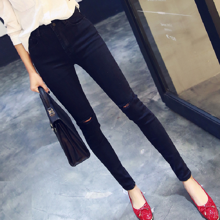 Spring and summer  new womens European and American high waist pencil pants feet straight trousers hole jeans knee jeans 071Одежда и ак�е��уары<br><br><br>Aliexpress