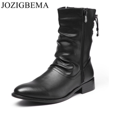 JOZIGBEMA New Fashion Men Boots Genuine Leather Casual zipper Pointed Toe Mid Calf Shoes Men Short Boots Motorcycle Cowboy Boots(China)
