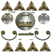 Chinese Brass Lock Set,For Wooden Box,Vase Buckle Metal Box Hasp Latch Lock,Decorative Hasp,Pattern Carved Hinge+Handle+Lock(China)