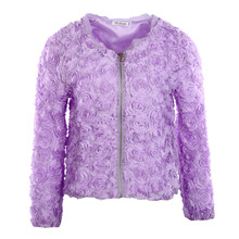 [Unbeatable At $X.99] Fashion Women Thin Coat 3D Rose Flower Mesh Lace Slim Zipper Tops Outerwear Purple