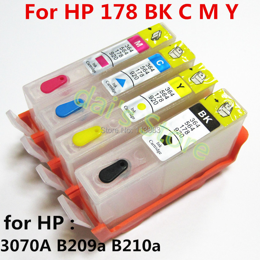 5set For hp178 178XL Refillable ink Cartridge for HP photosmart  B209a B210a deskjet 3070A printer with chip 4 color<br><br>Aliexpress