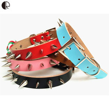 5 Colors Genuine Leather Spiked Pet Dog Collar Studded Pitbull Labrador Dog Harness Set Pet Shop Dog Accessories Arnes HP694(China)