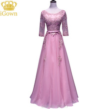 iGown Brand Evening Dress O-Neck Three Quarter Sleeve Dark Pink Lace Evening Dress Floor-length Party Prom Dress Plus size