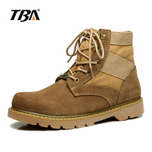 TBA Suede with Denim Upper Rubber Outsole Men's Desert Boots Spring Autumn Retro Male Boots Casual Outdoor Cowboy Boots 5702