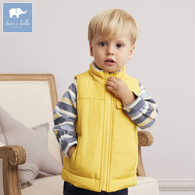 DB5385 dave bella autumn infant baby boys fashion cool coats kids sleeveless vest toddler coat children high quality clothes<br>